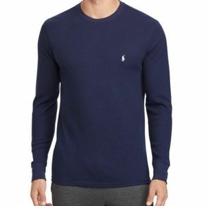 Polo Ralph Lauren waffle knit thermal navy blue